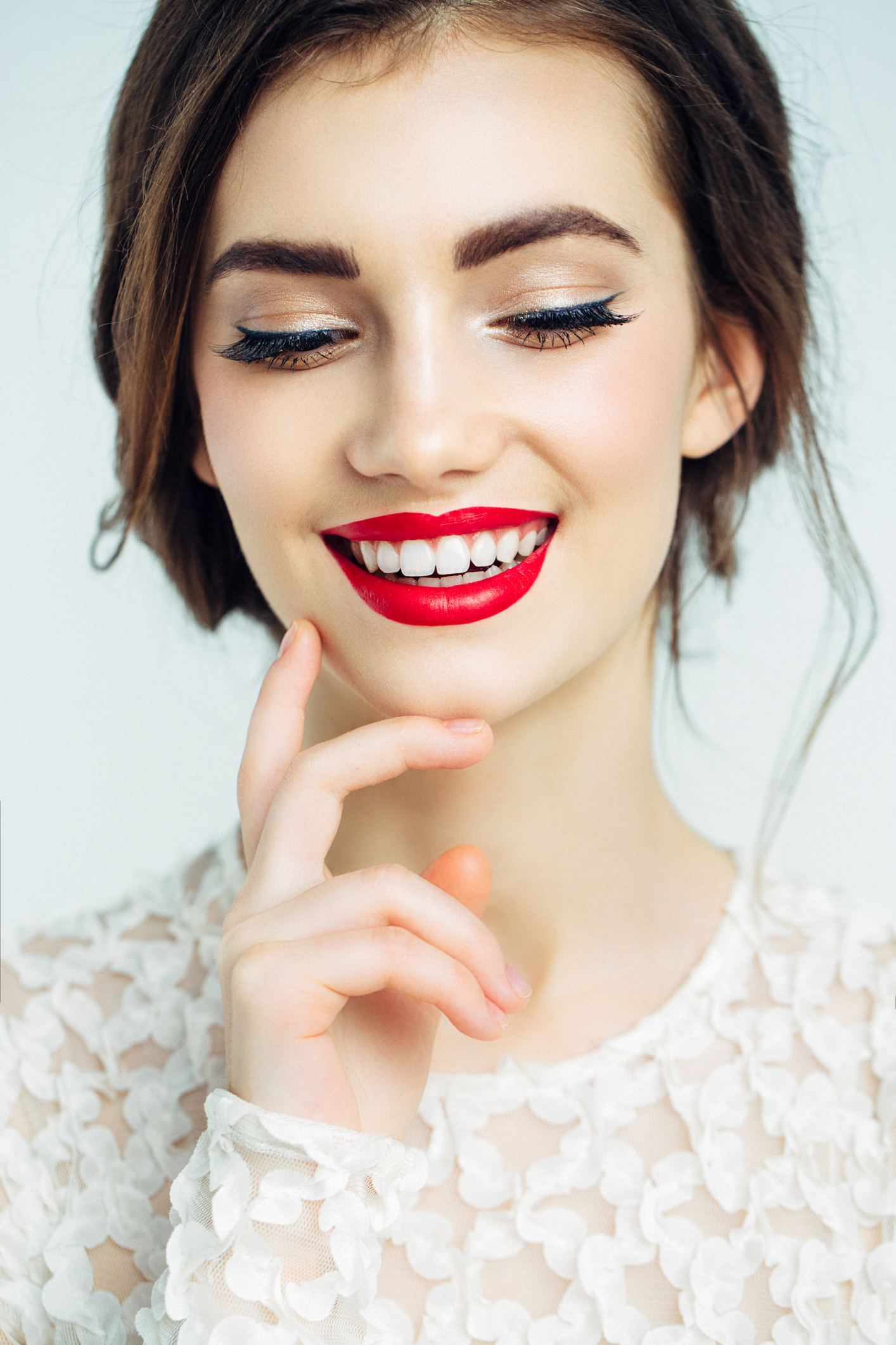 Studio shot of young beautiful woman. Professional make-up
