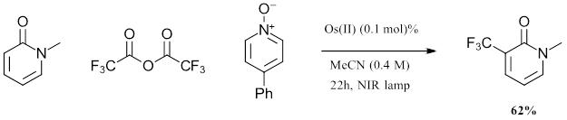 trifluoromethylation reaction with Osmium photocatalyst in red light photochemistry