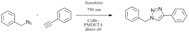 reduction of Cu(II) to Cu (I) using red LED (790 nm) under ambient temperature