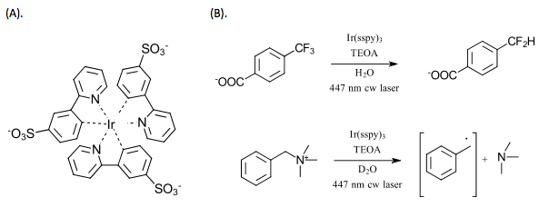 A). Irsspy catalyst B.) Applications of hydrated electron reductions
