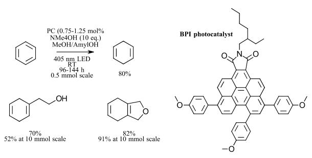 Visible light photocatalyzed Birch reduction