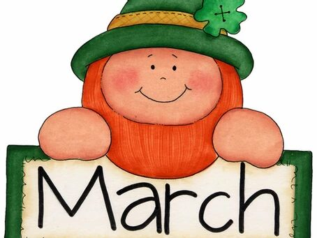 a cartoon leprechaun holding a sign that says March
