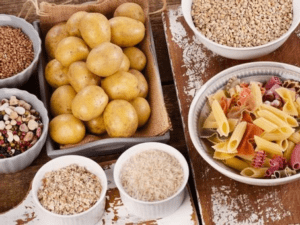 pasta, rice, oats, and potatoes