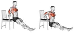 illustration showing how to do a triceps dip