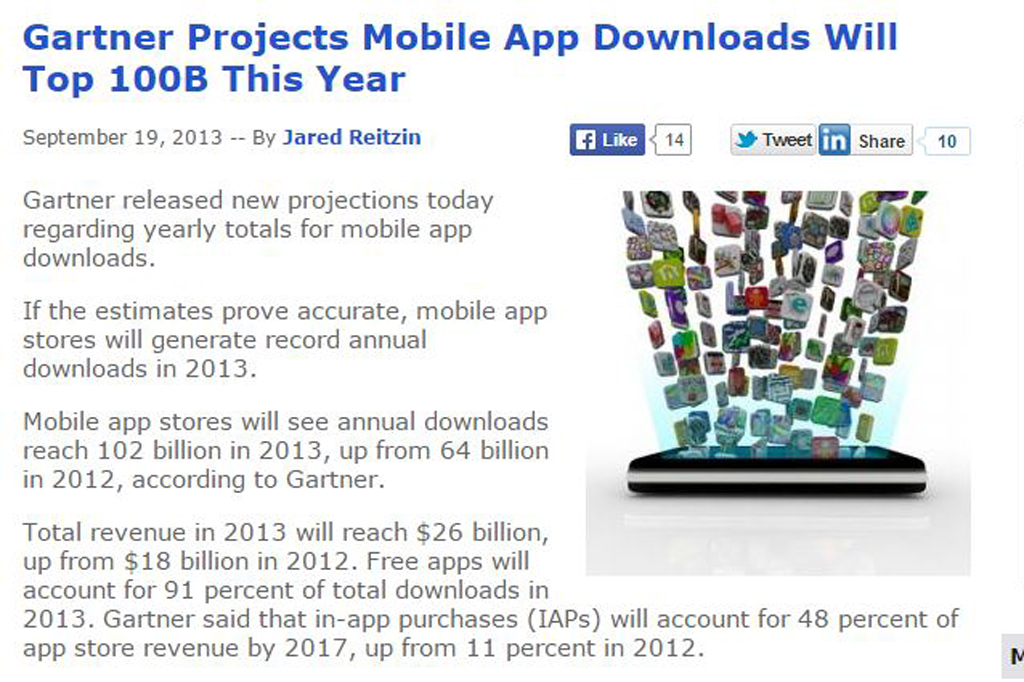 Gartner Projects Mobile App Downloads Will Top 100B This Year