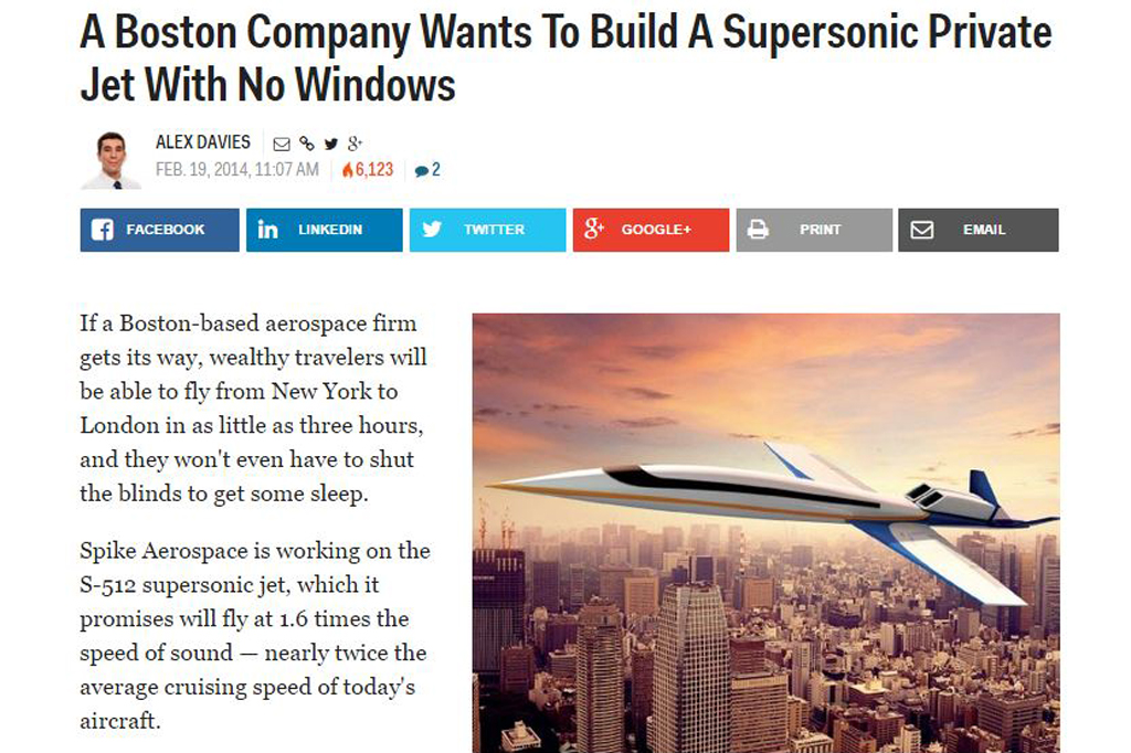 A Boston Company Wants To Build A Supersonic Private Jet With No Windows