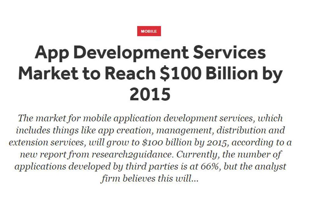 App Development Services Market to Reach $100 Billion by 2015