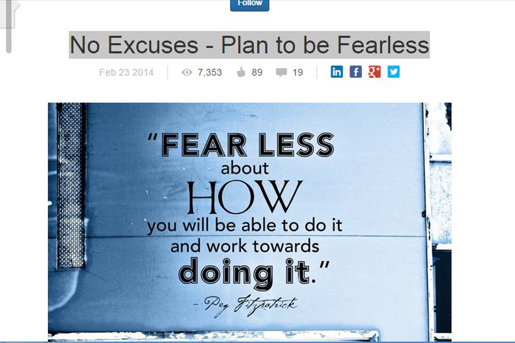 No Excuses - Plan to be Fearless