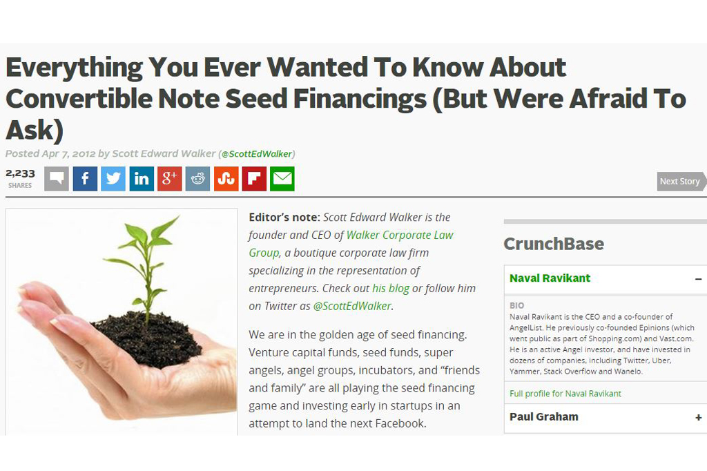 Everything You Ever Wanted To Know About Convertible Note Seed Financings (But Were Afraid To Ask)