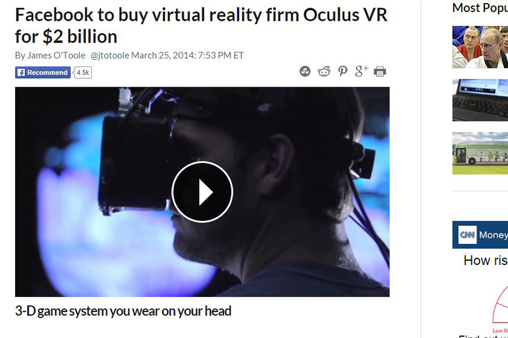 Facebook to buy virtual reality firm Oculus VR for $2 billion