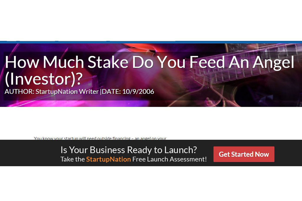 How Much Stake Do You Feed An Angel (Investor)?