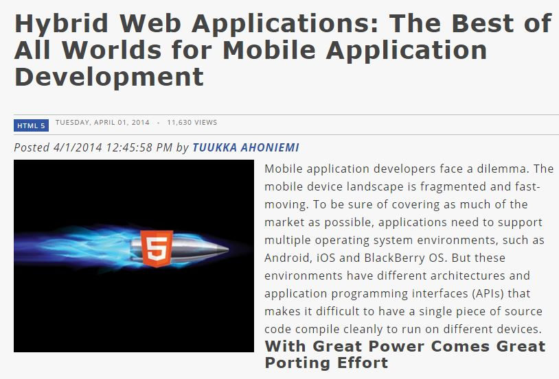 Hybrid Web Applications: The Best of All Worlds for Mobile Application Development