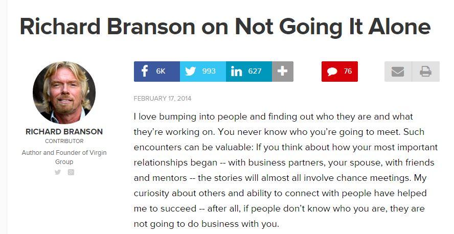 Richard Branson on Not Going It Alone