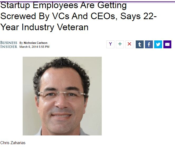 Startup Employees Are Getting Screwed By VCs And CEOs, Says 22-Year Industry Veteran