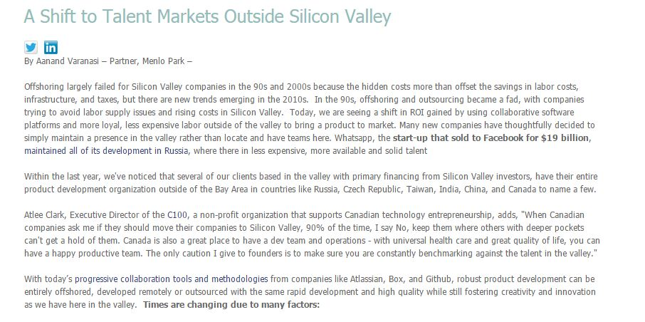 A Shift to Talent Markets Outside Silicon Valley