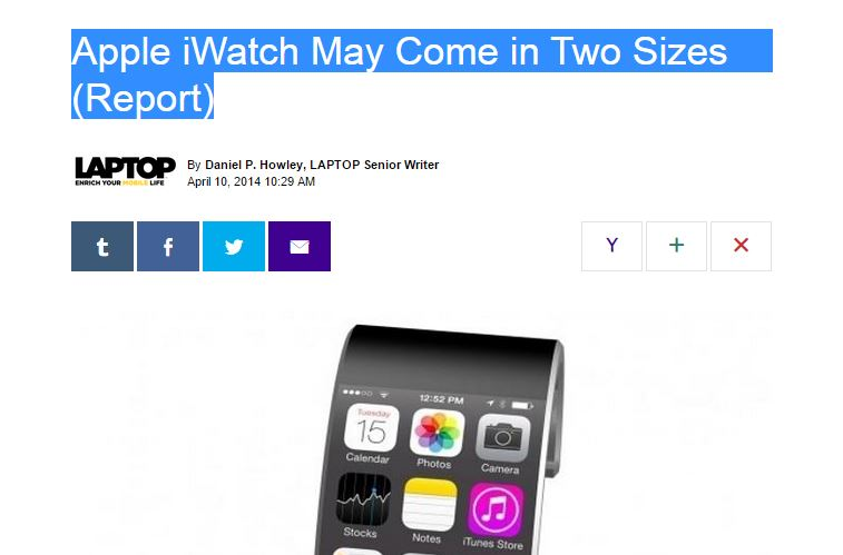 Apple iWatch May Come in Two Sizes (Report)