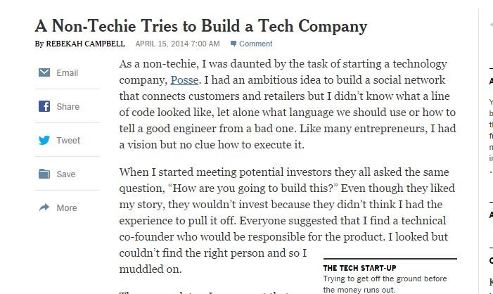 A Non-Techie Tries to Build a Tech Company