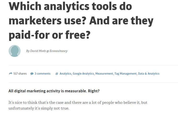 Which analytics tools do marketers use? And are they paid-for or free?
