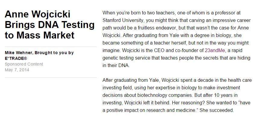Anne Wojcicki Brings DNA Testing to Mass Market
