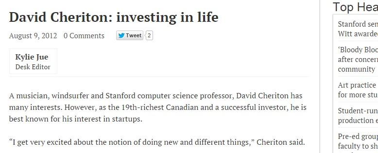 David Cheriton: investing in life