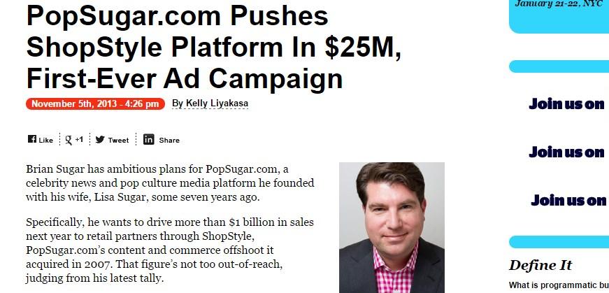 PopSugar.com Pushes ShopStyle Platform In $25M, First-Ever Ad Campaign