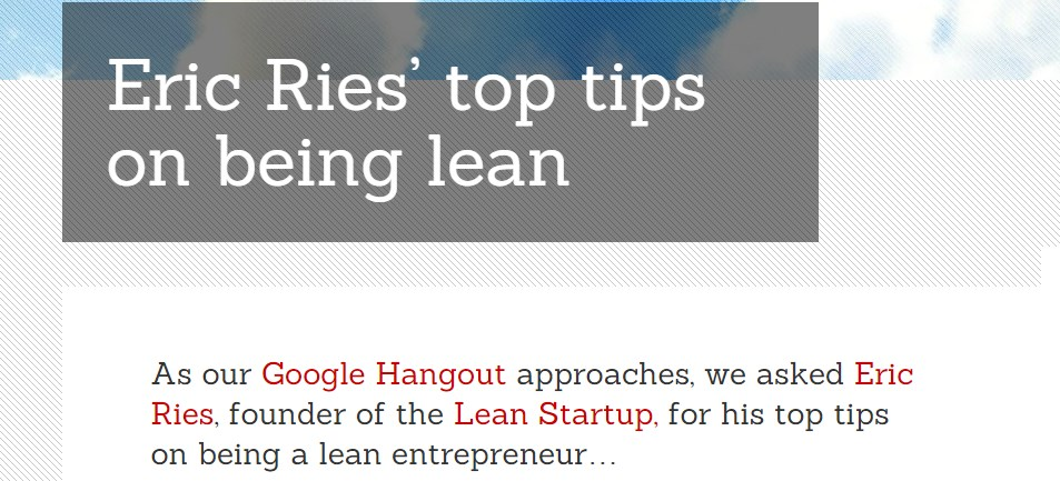 Eric Ries' top tips on being lean