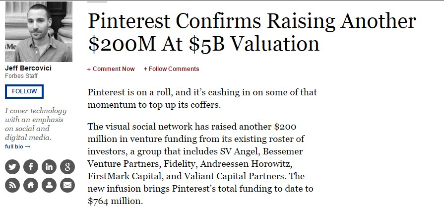 Pinterest Confirms Raising Another $200M At $5B Valuation