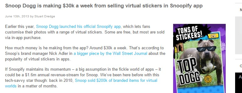 Snoop Dogg is making $30k a week from selling virtual stickers in Snoopify app