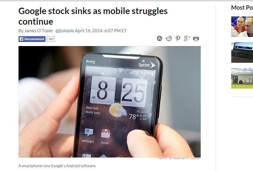 Google stock sinks as mobile struggles continue