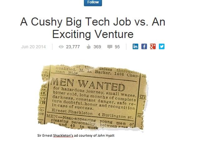 A Cushy Big Tech Job vs. An Exciting Venture