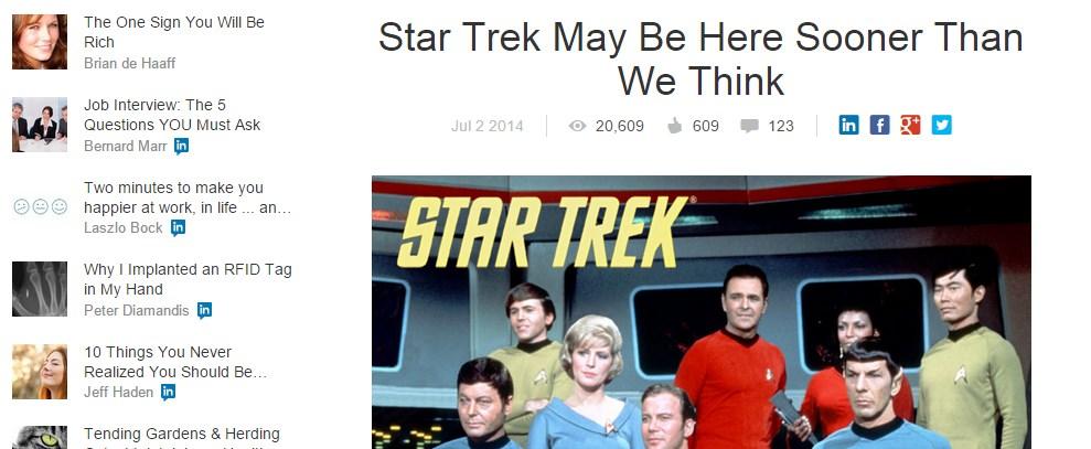 Star Trek May Be Here Sooner Than We Think