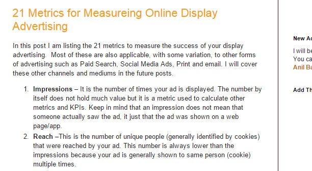 21 Metrics for Measureing Online Display Advertising