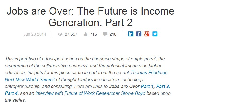 Jobs are Over: The Future is Income Generation: Part 2