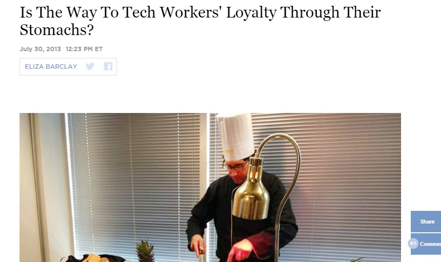 Is The Way To Tech Workers' Loyalty Through Their Stomachs?
