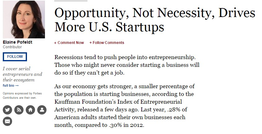 Opportunity, Not Necessity, Drives More U.S. Startups