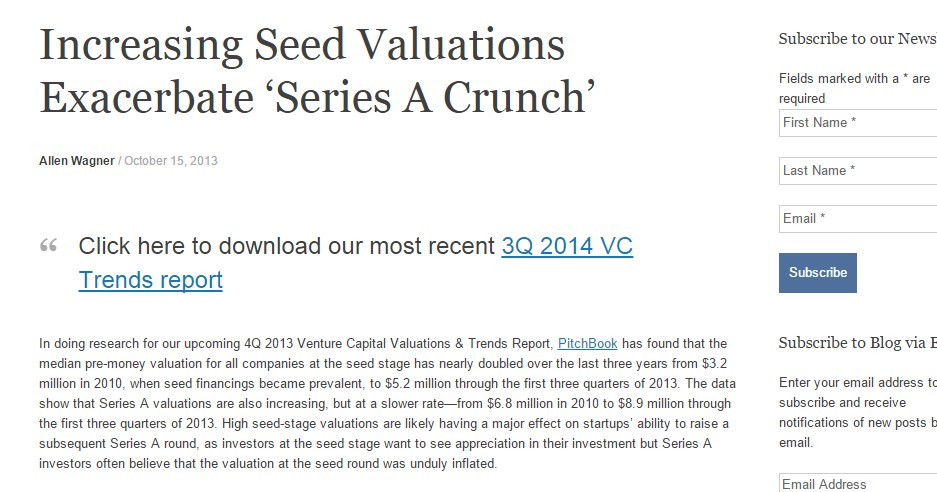 Increasing Seed Valuations Exacerbate 'Series A Crunch'