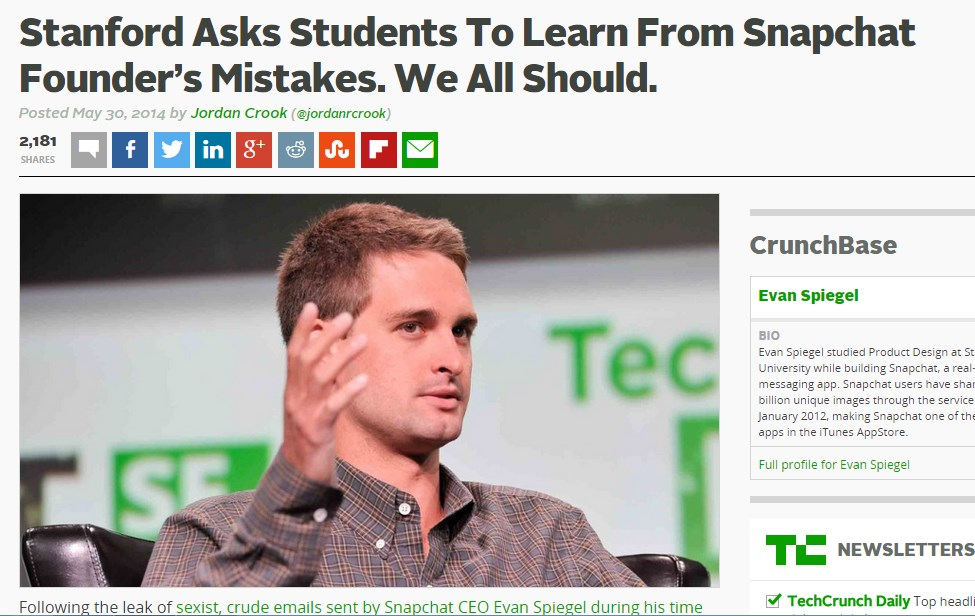 Stanford Asks Students To Learn From Snapchat Founder's Mistakes. We All Should.