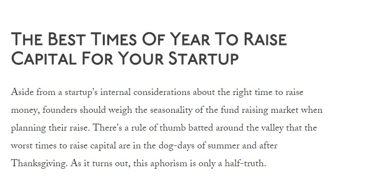 The Best Times Of Year To Raise Capital For Your Startup