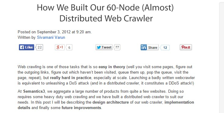 Web crawling is one of those tasks that is so easy in theory