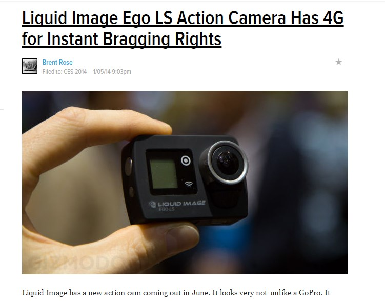 Liquid Image Ego LS Action Camera Has 4G for Instant Bragging Rights