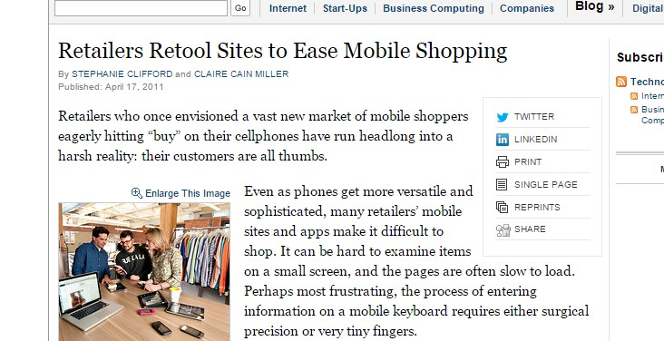 Retailers Retool Sites to Ease Mobile Shopping