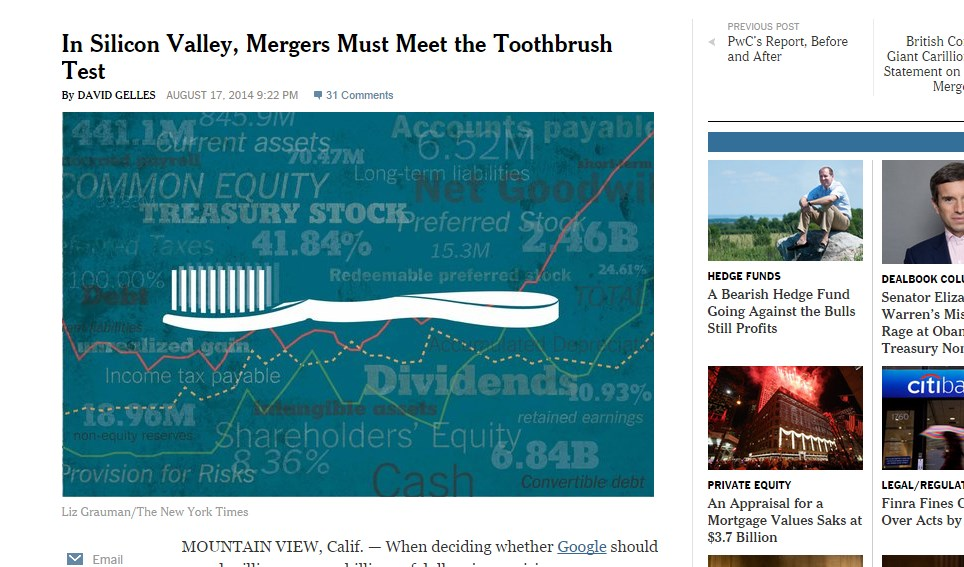 In Silicon Valley, Mergers Must Meet the Toothbrush Test