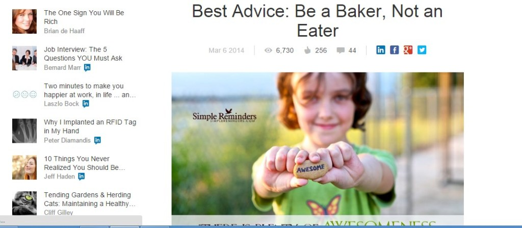 Best Advice: Be a Baker, Not an Eater