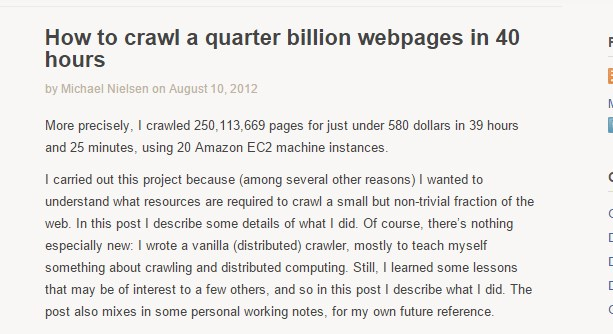 How to crawl a quarter billion webpages in 40 hours