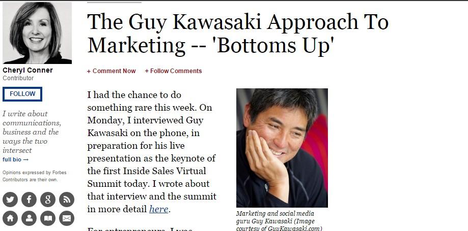 The Guy Kawasaki Approach To Marketing -- 'Bottoms Up'