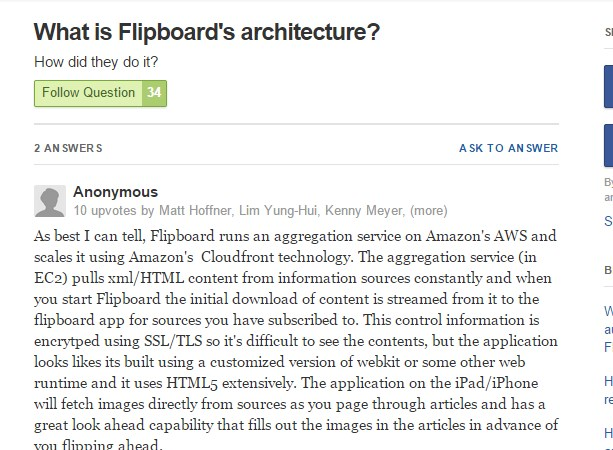 What is Flipboard's architecture?