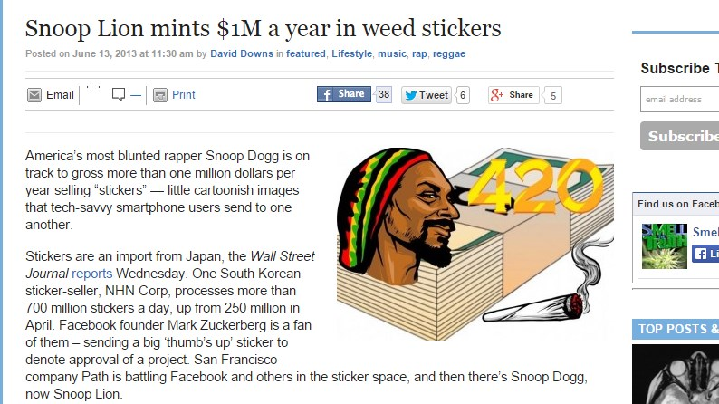 Snoop Lion mints $1M a year in weed stickers