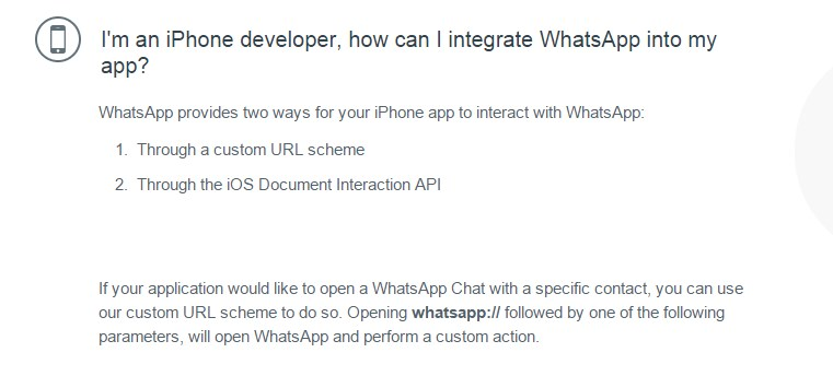 I'm an iPhone developer, how can I integrate WhatsApp into my app?