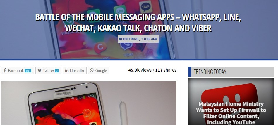 BATTLE OF THE MOBILE MESSAGING APPS – WHATSAPP, LINE, WECHAT, KAKAO TALK, CHATON AND VIBER