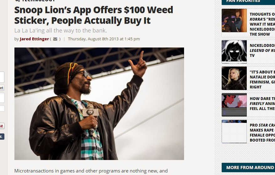 Snoop Lion's App Offers $100 Weed Sticker, People Actually Buy It